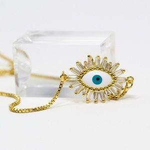 Gold Plated CZ Enamel Evil Eye Lariat Bracelet